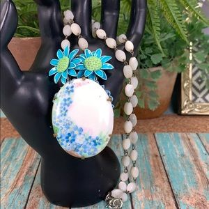 ✨Adorned Crown blue flower rosary bead necklace